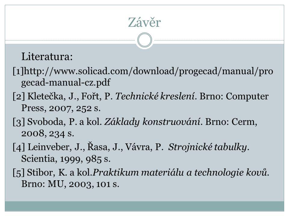 Závěr Literatura: [1]http://www.solicad.com/download/progecad/manual/progecad-manual-cz.pdf.